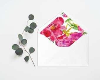 Floral Envelope Liner - Wedding Liner Envelope - Wedding Envelope - Envelope Liner - Floral Liner - Flowers Envelope - Flower Bohemian Green