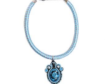 Soutache necklace - Turkish ceramics jewelry - Bohemian necklace - Fabric necklace - Textile jewelry - Elegant choker - Blue flower