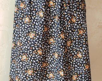 Vintage 70's Floral Pleated Skirt