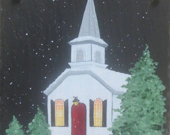 PAINTED CHURCH Slate is the perfect welcome to celebrate the Christmas season.