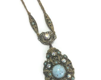 Vintage Faux Turquoise Pendant Necklace, Filigree and Aurora Borealis Rhinestone Accents, Victorian Revival, Costume Jewelry