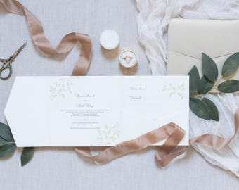 6x6 Square Formal Neutral Champagne Gold and Ivory Leaves Pocket Wedding Invitation, Inserts & Envelope. Different Colors Available!