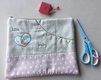 Baby Toilet Bag-baby kit-baby shower-baby gift-modern gift-baptism-Heart pouch