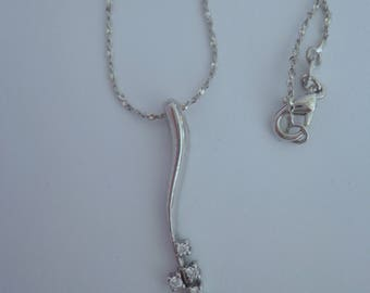 Faux Diamond Necklace,Sterling Silver Necklace