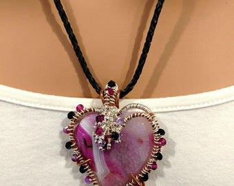 Pink Agate Gemstone Heart Wire Wrapped Pendant