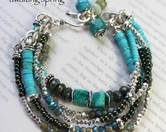 chrysocolla bracelet, turquoise bracelet, vesuvianite bracelet, blue bracelet, artisan bracelet, bohemian bracelet, southwestern bracelet