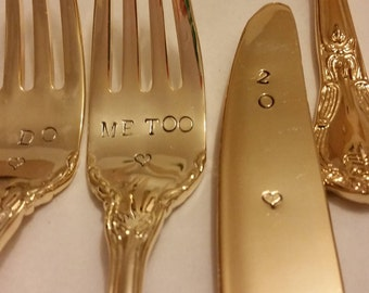 3pc Gold cake servers I DO ME TOO 2 forks +2018 on 1 knife  24K gold plated flatware Vintage Shabby Hand stamped Wonky Gatsby wedding