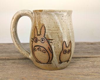 16 oz Speckled White Little Totoros Mug - Wheel Thrown Hand Carved Studio Ghibli Coffee Cup
