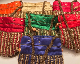 Bag,potli bag,shoulder bag,pouch,kids,clutch,purse,wallet,diwali,zari,sequence work ,Navratri,gift,pooja