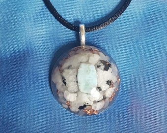 Reiki infused unique handcrafted Larimar Rainbow Moonstone and Aquamarine resin necklace with copper, selenite, and quartz  *peace, calming*