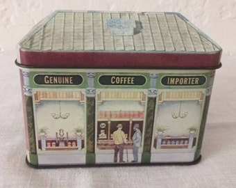 TEA TIN, EDWARDIAN Coffee House, from 1980s by Ian Logan Ltd., London, highly detailed inside and outside the shop, with period advertising.