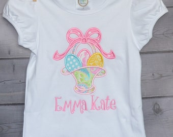 Personalized Girly Easter Basket with Eggs Applique Shirt or Onesie Girl or Boy