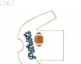 100% In the Hoop  - Patriots- Football - Doll Sweater - 5 x 7 Only - Fleece is Suggested -  DIGITAL Embroidery Design