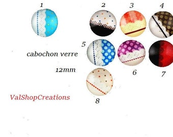 X 2 multicolor 12mm glass Cabochons