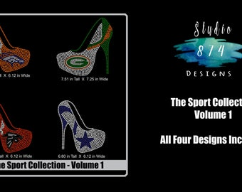 Shoe Bundle - Rhinestone Transfer Template Pattern Stencil DOWNLOAD ONLY - Sport Collection Volume 1 - Sticky Flock - SVG