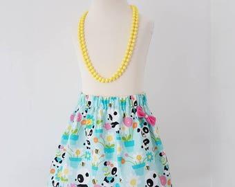 Panda skirt, pink bow, flower skirt , mint and pink , summer clothing, kids clothing, UK