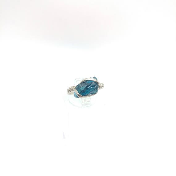 Simple Blue Crystal Ring | Raw Tourmaline Ring | Sterling Silver Ring Sz 6.75 | Blue Tourmaline Ring | Tourmaline Ring | October Birthstone