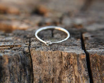 Aquamarine, sterling silver hammered stacking ring with 2mm stone