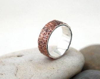 Copper Wedding Ring for Men, Copper Meteorite Ring, Mens Copper Ring, Mens Rustic Wedding Ring, Textured Copper Wedding Band