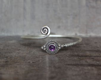 Bangle Bracelet with Amethyst Stone - 925 Silver