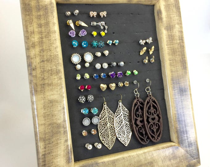 Solid Wood Earring Organizer - Rustic Frame