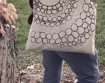 Stylish Tote Bag, Art Reusable Bag, Dot Tote Bag, Eco-Friendly Tote, Gift Tote Bag