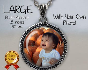 Large Photo Pendant Necklace - Your Own Photo - Photo Jewelry - Photo Necklace - Custom Picture Necklace - Personalized Necklace