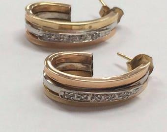 """Unique 14K Tri Color Gold 1"""" Diamond Hoop Earrings!"""