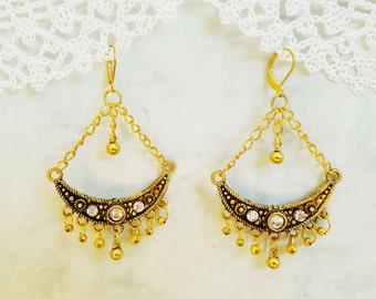 Vintage style Retro Earrings, Boho Earrings, Bohemian Earrings, Moon Earrings