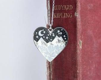 Enamel Mountains Necklace, Silver Heart Mountain Pendant