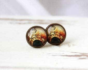 Boho earrings, 12 mm stud earrings, studs, abstract, abstract Brown stud earrings, studs