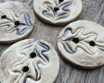 Oak leaves II. - set of handmade ceramic unique buttons