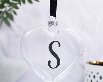 Mono Heart Bauble - Black and White Bauble - Black and White Trend - Initial Bauble Decoration - Christmas Tree Bauble - Heart Bauble