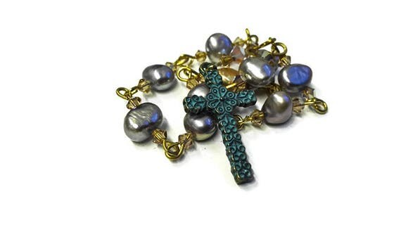Mini Rosary, prayer beads from light gray sweet water pearls, Swarowski crystals and Celtic cross