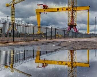 "Fine Art Photography, Landscape Photography, Wall Art, Landscape Print, Belfast, Titanic - ""Harland and Wolff Cranes"""
