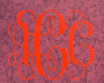 monogram decal in glossy vinyl