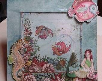 Mermaid Greeting Card/Mermaid Birthday Card/Little Mermaid Card/Mermaid Aquarium Card/Seascape Greeting Card/Fine Art Greeting Card/Custom