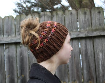 RTS Messy Bun Hat, Brown Multicolored Ponytail Beanie, Ready to Ship, Striped Handmade Crochet Messy Bun Beanie, Knit Pony tail Hat
