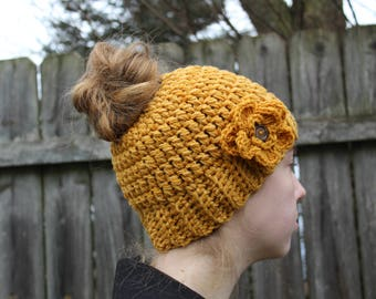 RTS Messy Bun Hat, Mustard Yellow Ponytail Beanie, Ready to Ship, Button Flower Handmade Crochet Messy Bun Beanie, Knit Pony tail Hat