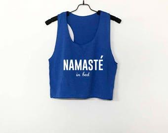 Namaste In Bed Crop Top Crop Tee Racer Back Tank Top Racerback Tank Women Girls Teen Tube Top Halter Top