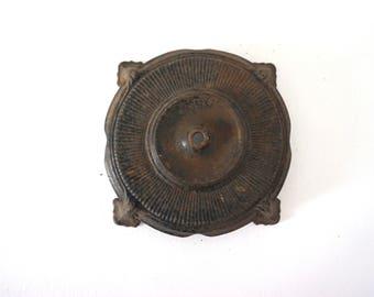 heavy vintage floor lamp base black cast steel ornate