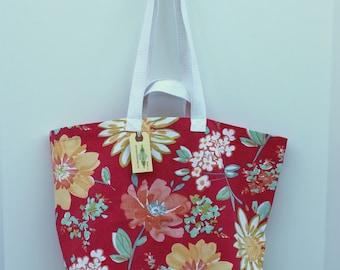 Canvas Bag: Vintage Spring Flowers, washable