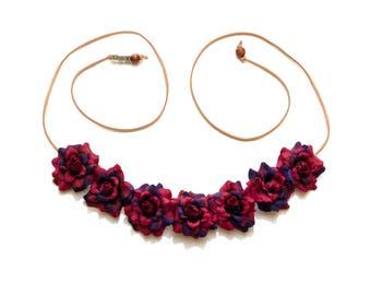 Maroon Purple Rose Flower Crown, Flower Headband, Festival Headband, Hippie Headband, Bohemian Headband, BoHo Headband, Autumn Headband