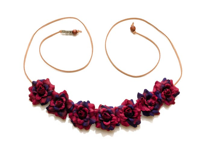 Maroon Purple Rose Flower Crown