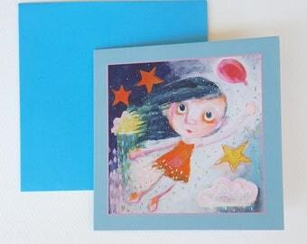 "Birthday card with envelope, size 12x12 cm / 4.7x4.7"""