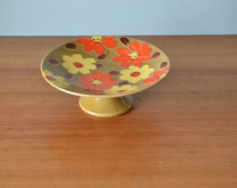 Vintage Cake stand Lefton Funky orange yellow flowers