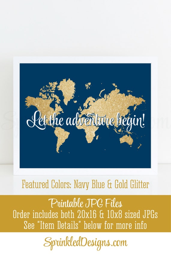 Let the adventure begin map sign navy blue gold glitter world map il570xn gumiabroncs Choice Image