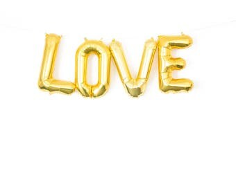 Gold Love Balloon Banner - Bridal Shower Banner, Gold Wedding Balloons, Love Balloon Banner, Bachelorette Party Decoration, Bridal Banner