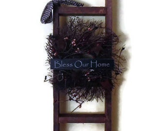 Bless our Home Primitive Ladder, Angel Vine Wreath, Rusty Stars and Berries, Country Home Decor, Wall Hanging, Handmade, 16 X 7, Made in USA