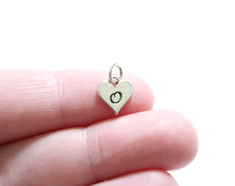 Sterling Silver O Letter Heart Charm, Silver Tiny Stamped O Initial Heart Charm, Stamped O Letter Charm, O Initial Charm, Initial O Charm